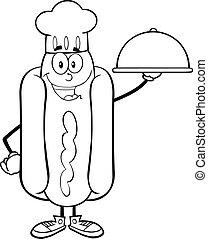 perro, chef, caliente, negro, blanco, feliz