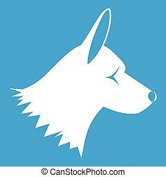 perro collie, icono, blanco