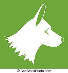 perro collie, icono, verde