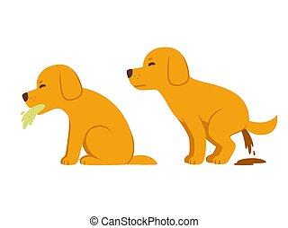 perro, diarrea, caricatura, vomitar