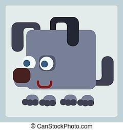 perro, estilizado, icono, símbolo