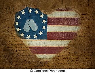 perro, etiquetas, en, corazón, bandera