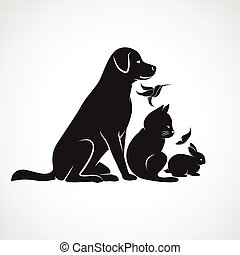 perro, grupo, mascotas, pájaro, gato, -, aislado, vector, plano de fondo, conejo blanco