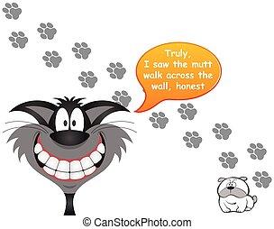 perro, impresiones, culpar, pata, gato