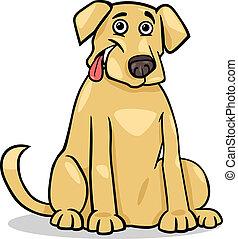 perro labrador, caricatura, ilustración, perro
