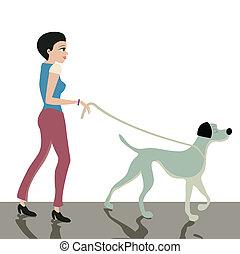 perro, leash.