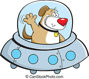 perro, nave espacial, caricatura