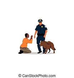 perro negro, policía, offender.