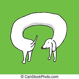perro, perseguir, su, poseer, cola