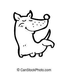 perro, pierna, caricatura, amartilleo