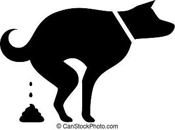 perro, pooping, silueta, vector