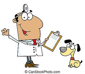perro, veterinario, caricatura, hombre