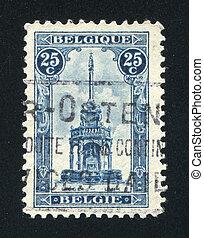 Perron of Liege Fountain - BELGIUM - CIRCA 1919: stamp ...