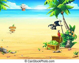 perroquet, côte, arbre, paume, bateau, poitrine, pirate
