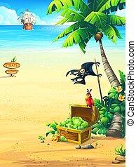perroquet, illustration, poitrine, arbre, vecteur, paume, bateau, côte, pirate
