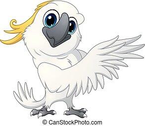 perroquet, mignon, dessin animé, cacatoès, poser