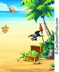 perroquet, océan, arbre, paume, bateau, côte, pirate, poitrine