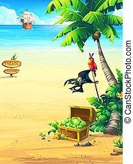 perroquet, océan, arbre, paume, bateau, côte, poitrine