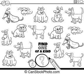 perros, cómico, juego, color, página, clase, uno, libro
