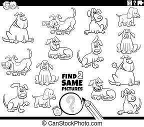 perros, colorido, dos, hallazgo, juego, mismo, página, libro