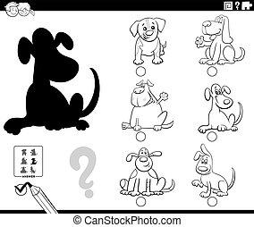 perros, juego, caricatura, color, página, sombras, libro