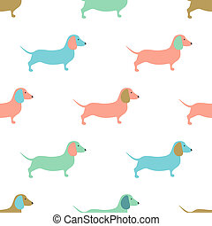 Perros, lindo, Ilustración, patrón, dachshound, seamless,...