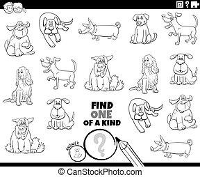perros, página, juego, colorido, clase, uno, libro