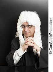 perruque, arrière-plan noir, juge, portrait, mâle