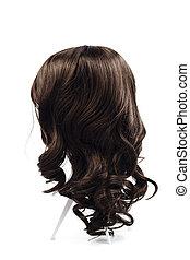 perruque, cheveux bruns, isolé