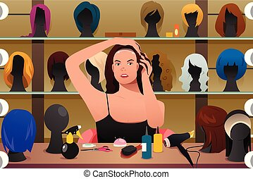 perruque, femme, essayer, illustration