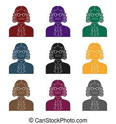perruque, raster, style, illustration., symbole, criminal.prison, glasses., bitmap, personne, unique, verdict, juge, noir, icône, marques, stockage