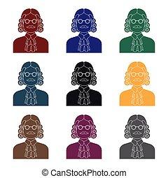 perruque, style, illustration., symbole, criminal.prison, glasses., personne, unique, vecteur, verdict, juge, noir, icône, marques, stockage