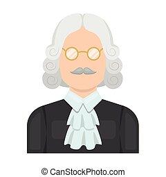 perruque, style, illustration., symbole, criminal.prison, glasses., personne, unique, vecteur, verdict, juge, icône, marques, dessin animé, stockage