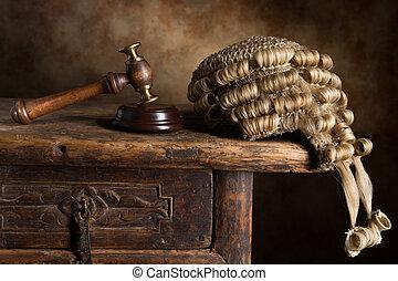 perruque, tribunal, marteau