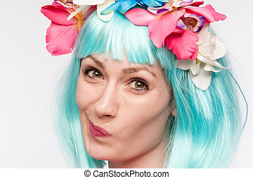perruque, turquoise, tordu, figure, girl, fleurs