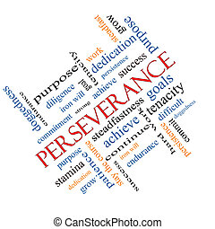 persévérance, concept, mot, nuage, incliné