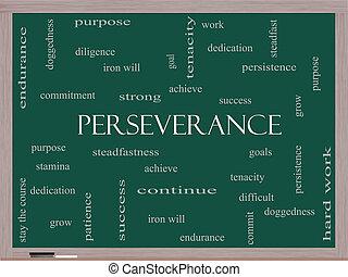 persévérance, concept, mot, nuage, tableau noir