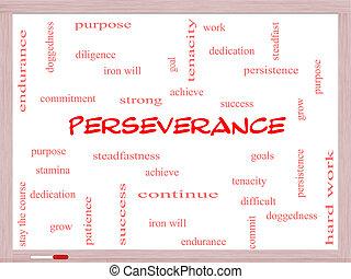 persévérance, concept, mot, nuage, whiteboard