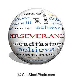 persévérance, concept, mot, sphère, nuage, 3d