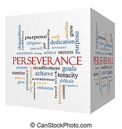 persévérance, cube, mot, concept, nuage, 3d