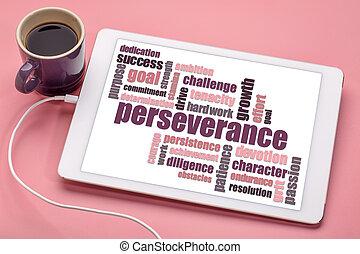 persévérance, mot, nuage, tablette