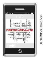 persévérance, touchscreen, concept, mot, téléphone, nuage