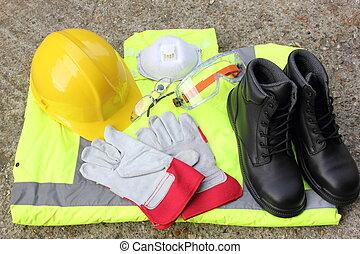 persönlich, ausrüstung, schutz