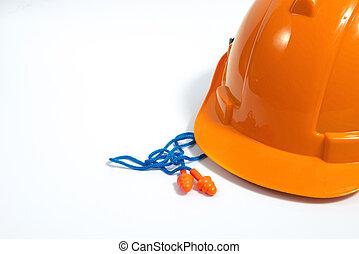 persönlich, concept., ausrüstung, standort, baugewerbe, sicherheit, orange, stecker, ohr, wiederverwendbar