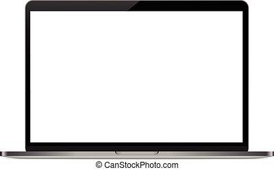 persönlich, vektor, zeichnung, mock-up, weißer hintergrund, edv, laptop