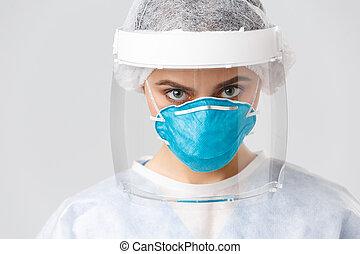 persönlich, verhindern, healthcare, virus, respirator, gesicht, sicher, arbeiter, krankenschwester, covid-19, schutzschirm, quarantäne, nahaufnahme, entschlossen, concept., oder, schützend, schauen, ernst, doktor, kostüm