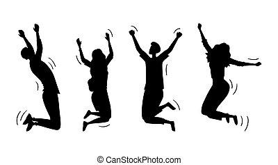 persönlich, zusammen., junger, freude, vektor, jungendliche, set., illustration geschäft, leute, silhouetten, karikatur, mädels, wohnung, glücklich, lebensstil, oder, springende , studieren, erfolg, life., knaben, lustiges