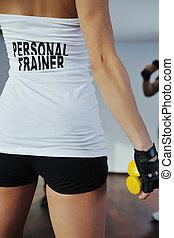 persönlicher trainer, frau, fitness