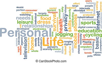 persönliches leben, begriff, hintergrund