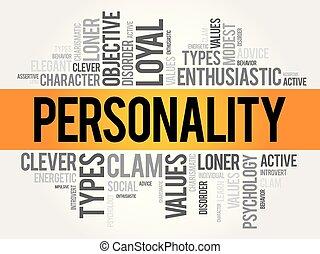 persönlichkeit, wort, wolke, collage